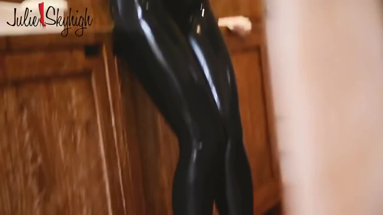 fitting latex rubber catsuit