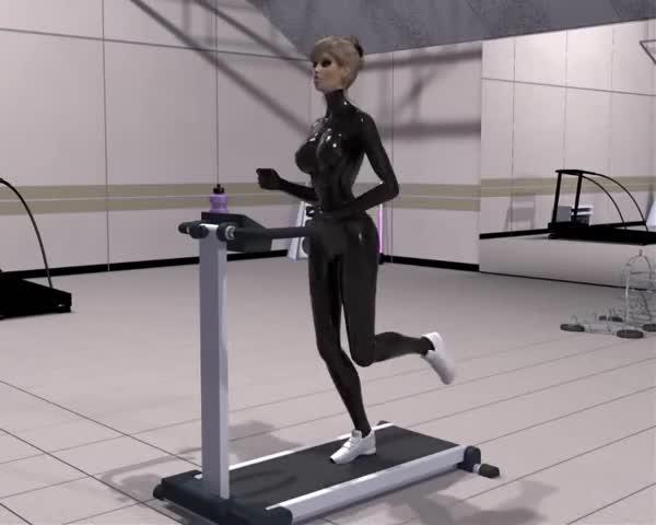 Fantasie Girl in Latex Jogging