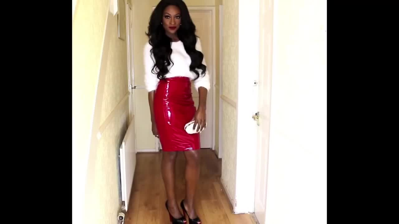 Tight Red Pvc Patent Leather Pencil Skirt