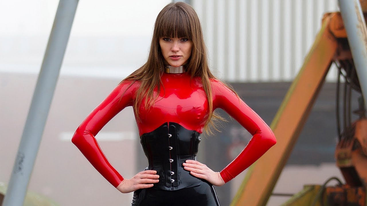 My fetish girl ( Red and black Latex Catsuit, Ballet Boots, Latex Gloves )