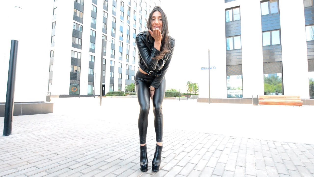 Girl Black boots leather Leggings jacket high heels long legs