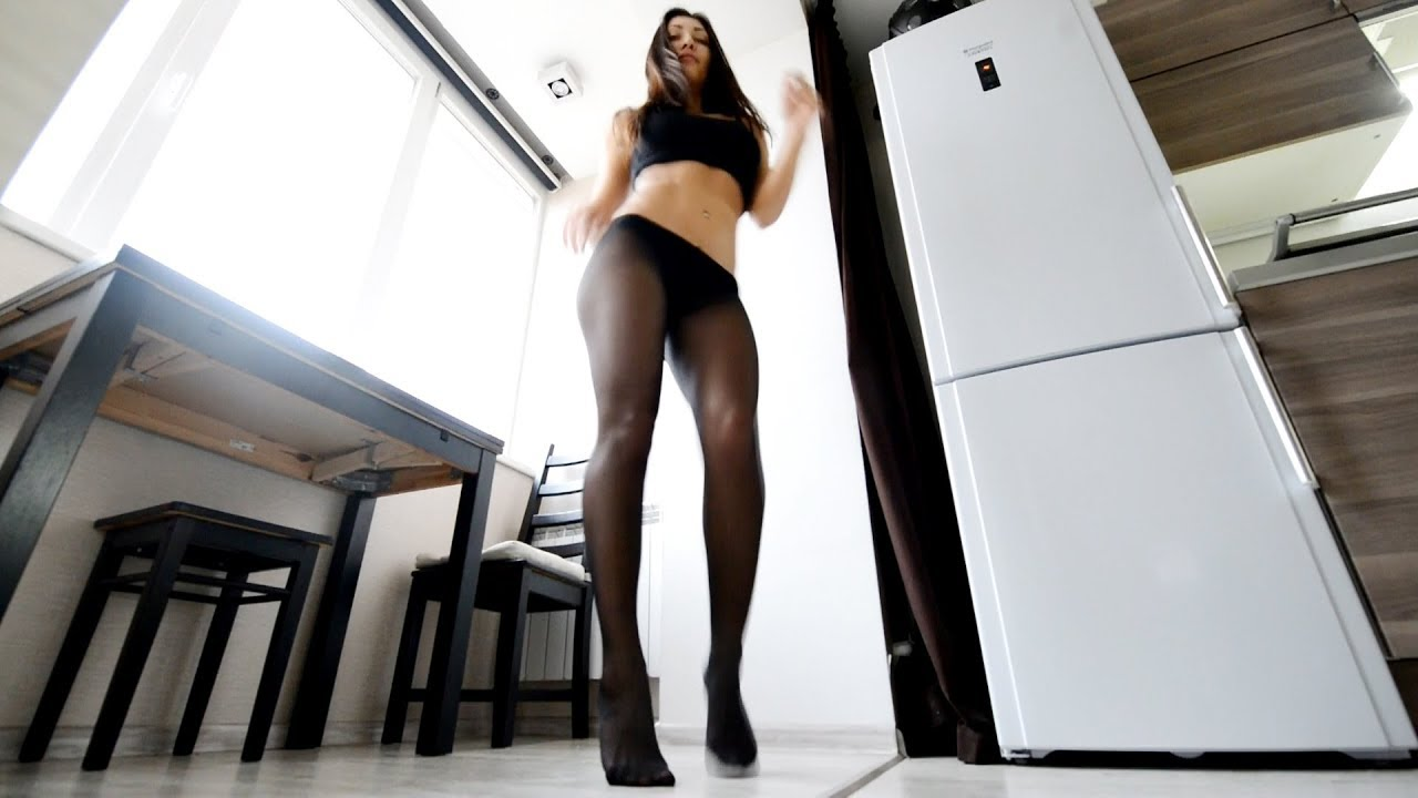 Long legs pantyhose. Fitness Girl dance  in tights, nylons.