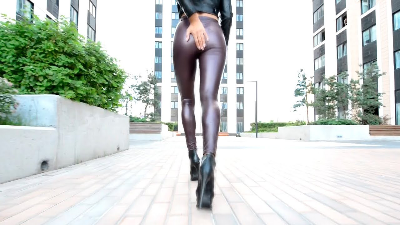 Walking boots leather leggings. high-heeled shoes long legs