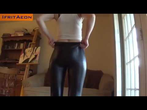 Shiny leggings girl's ass #4