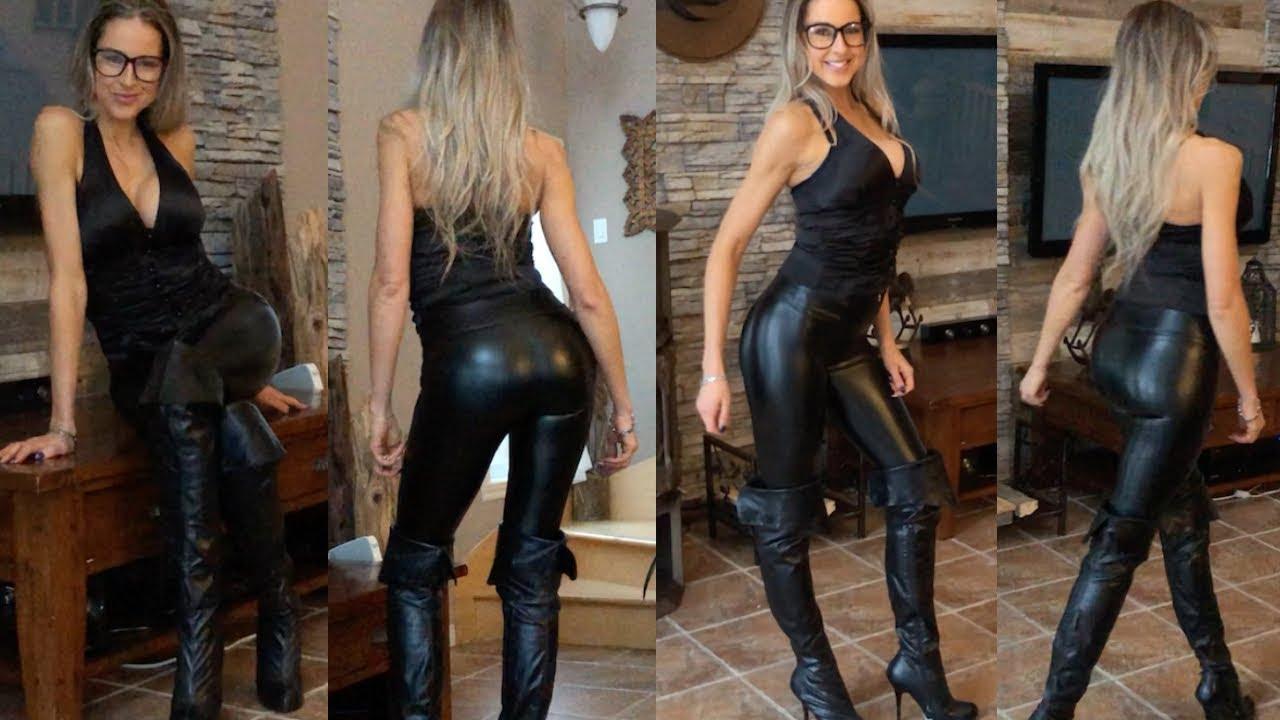Leather Leggings, High Heel Boots, Winter Outfit - krystellelacroix