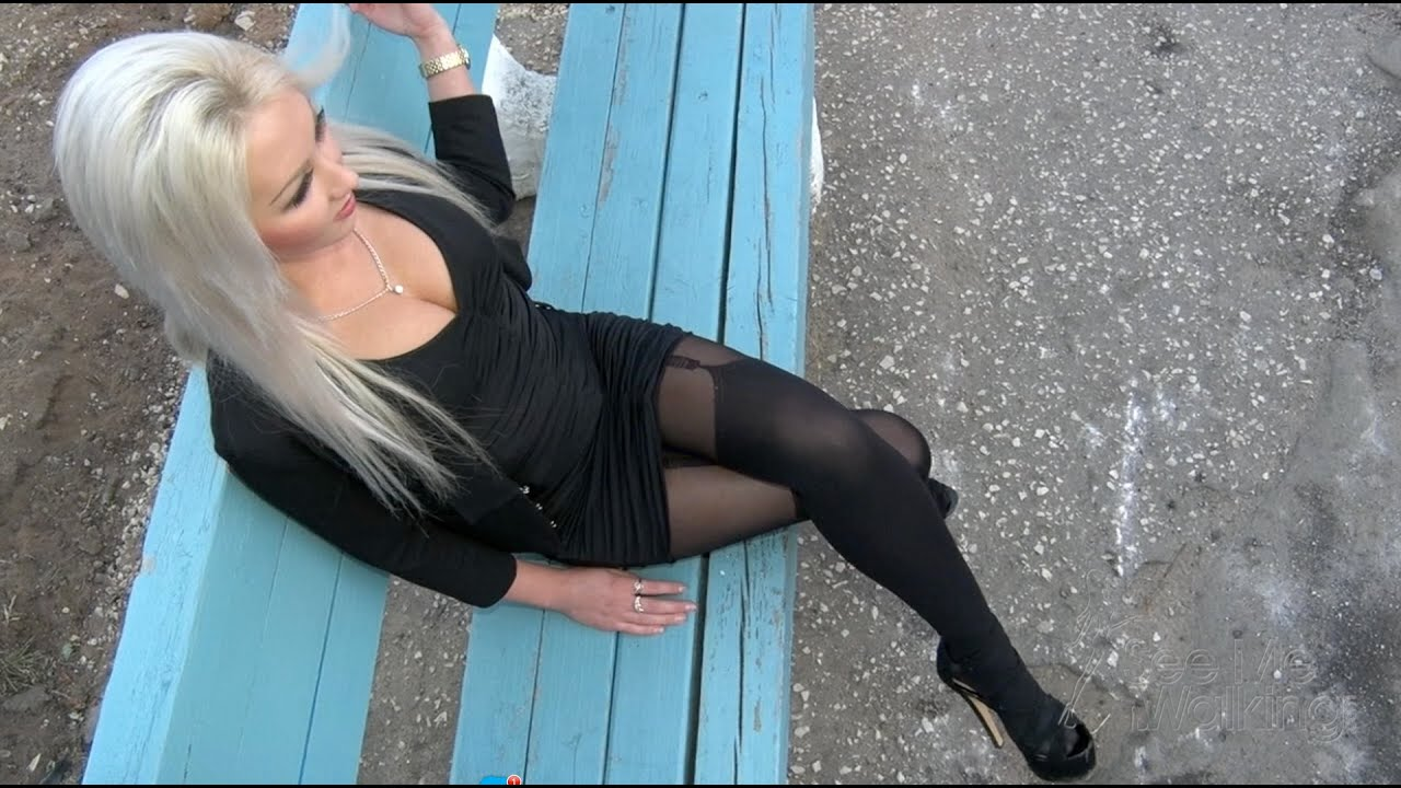 Blonde in sexy Stockings and high heels Abandoned City Trailer