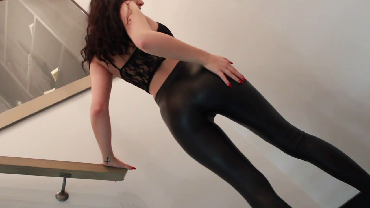 April Rayne - Dynamite Coated Leather Leggings Outfit